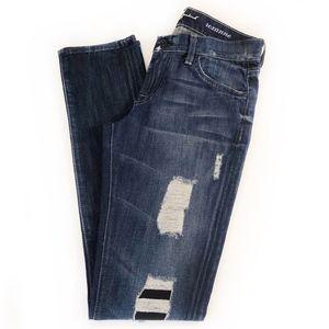 "7FAMK   ""Roxanne"" Distressed Skinny Jeans"